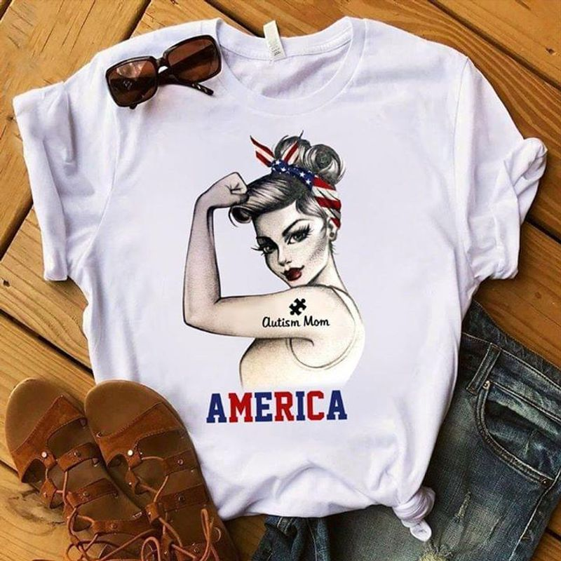Autism Mom America Independence Day 4th Of July White T Shirt Men/ Woman S-6XL Cotton
