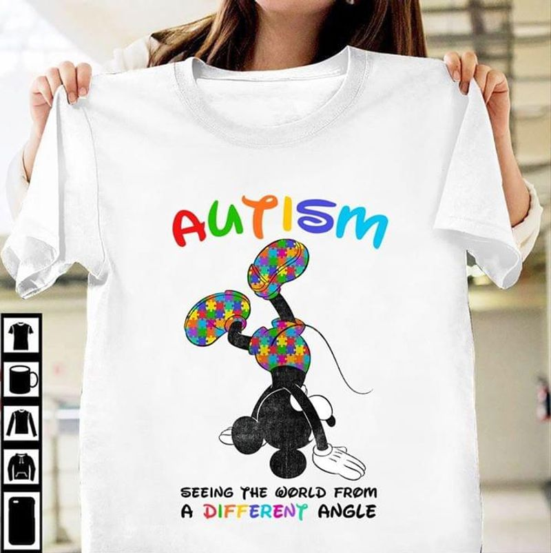Autism Seeing The World From A Different Angle Up-Side-Down Mickey Mouse White T Shirt Men And Women S-6XL Cotton