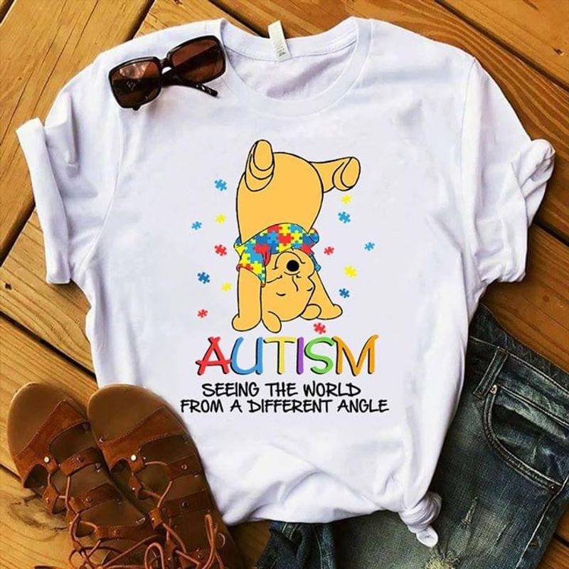 Autism Seeing The World From A Different Angle Winnie The Pooh White T Shirt Men And Women S-6XL Cotton
