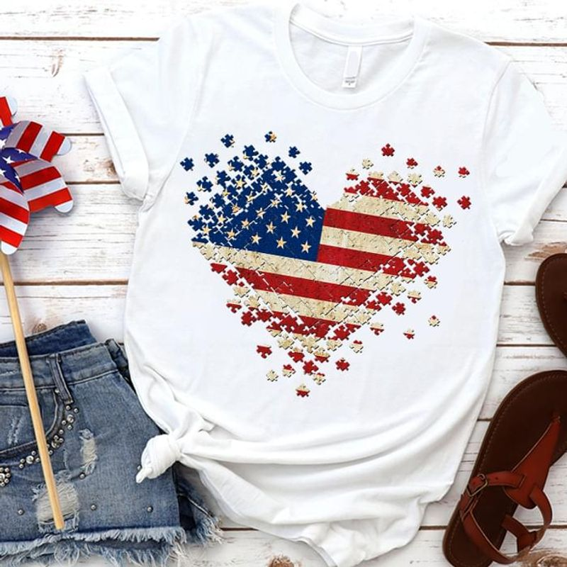 Autism US Flag Independence Day 4th Of July White T Shirt Men/ Woman S-6XL Cotton