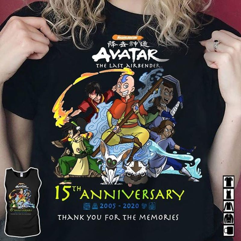 Avatar The Last Airbender Lovers 15th Anniversary 2005 2020 Thank You For The Memories Fans Gift Black T Shirt Men And Women S-6XL Cotton