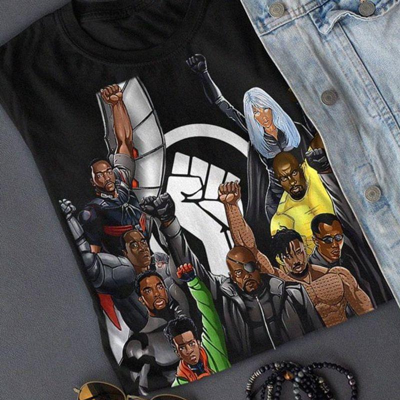 Avenger Black Power Raised Clenched Fist Symbol Gift For Avenger Fan Black T Shirt Men And Women S-6XL Cotton