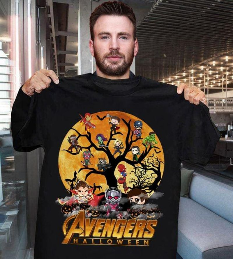 Avengers Halloween T-shirt Marvel Superheroes Chibi Tee Halloween Gift For Marvel Fans Black T Shirt Men And Women S-6XL Cotton