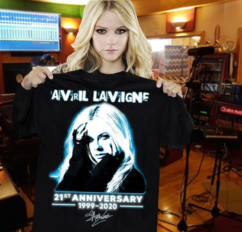 Avril Lavigne Fan 21st Anniversary 1999 2020 Signature Black T Shirt Men And Women S-6XL Cotton