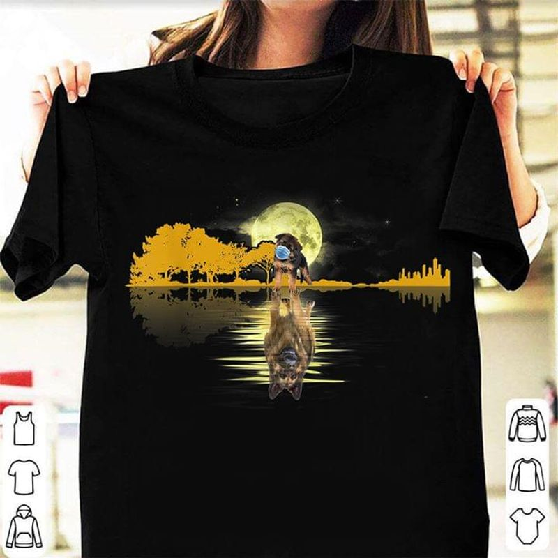 Baby Dog Reflect Water Becgie Moon Night Guitar Gift For Dog Lovers Black T Shirt Men/ Woman S-6XL Cotton