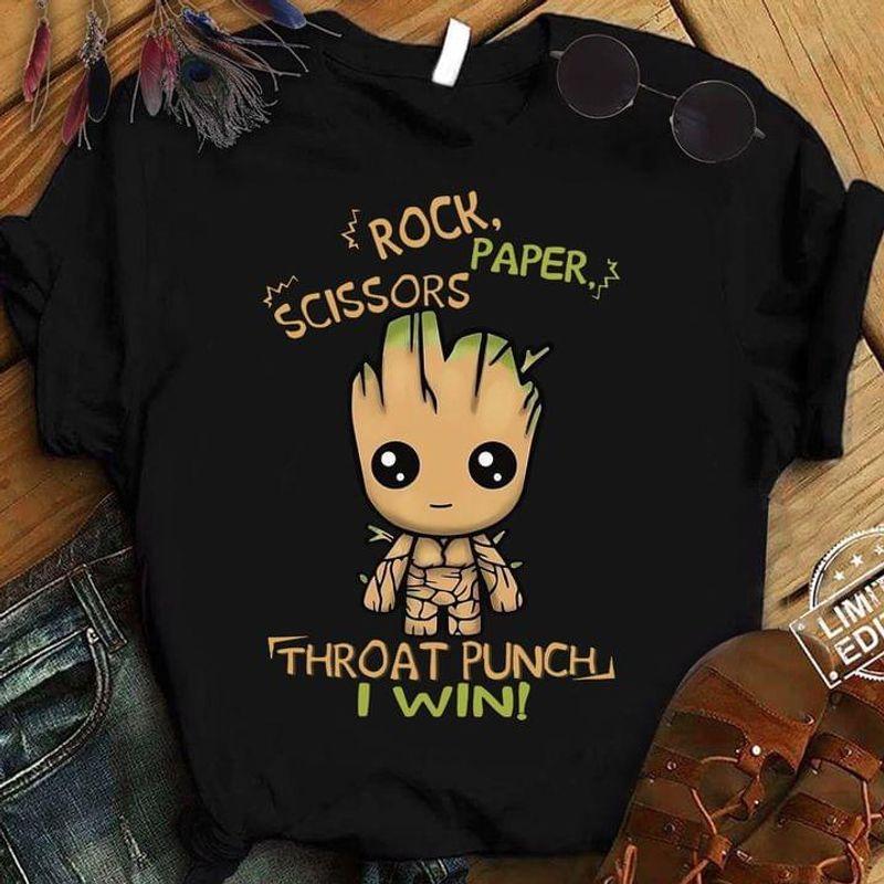 Baby Groot Playing Rock Paper Scissor Throat Punch Win The Guardian Of Galaxy Fan Gift Black T Shirt Men And Women S-6XL Cotton