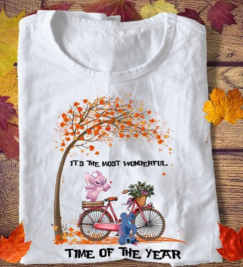 Baby Stitch It's The Most Wonderful Time Of The Year Fall Autum Happy Halloween White T Shirt Men And Women S-6XL Cotton