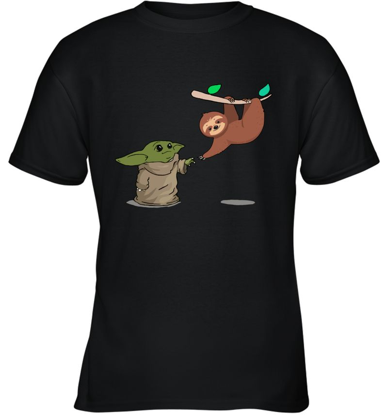 Baby Yoda And Sloth Touch Hands T-Shirt Black