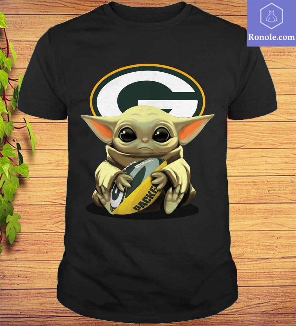 Baby Yoda Hug Green Bay Packers Logo T-Shirt