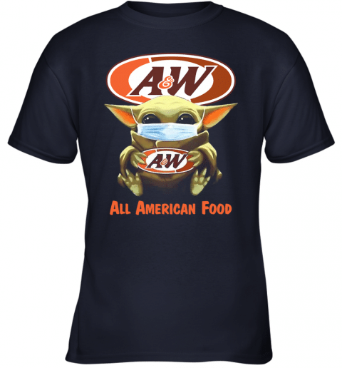 Baby Yoda Mask Hug Aw All American Food Covid 19 Youth T-shirt