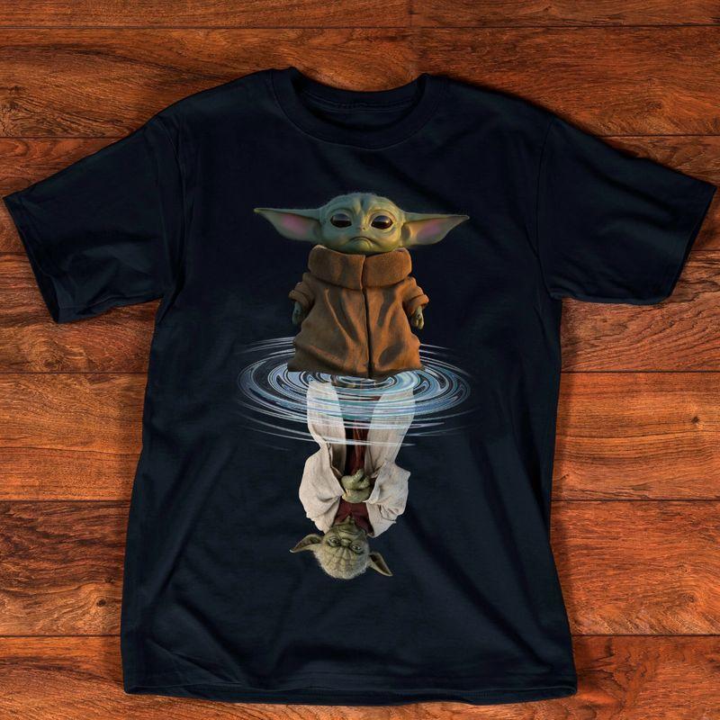 Baby Yoda Water Mirror Reflection Master Yoda Black T-Shirt