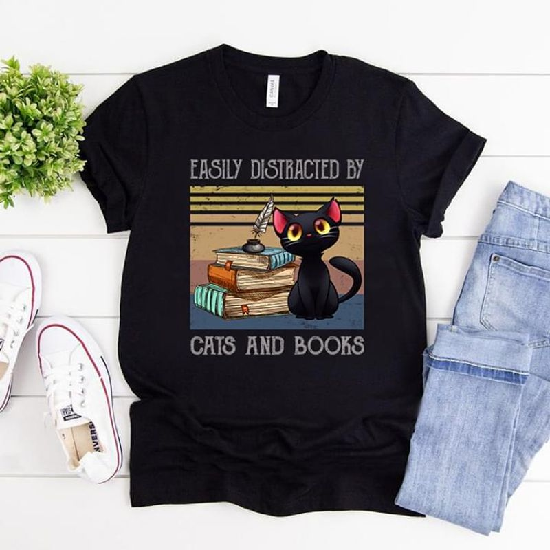Balck Cat Easily Distracted By Cats And Books Gift For Book Lovers Vintage Black T Shirt Men And Women S-6XL Cotton