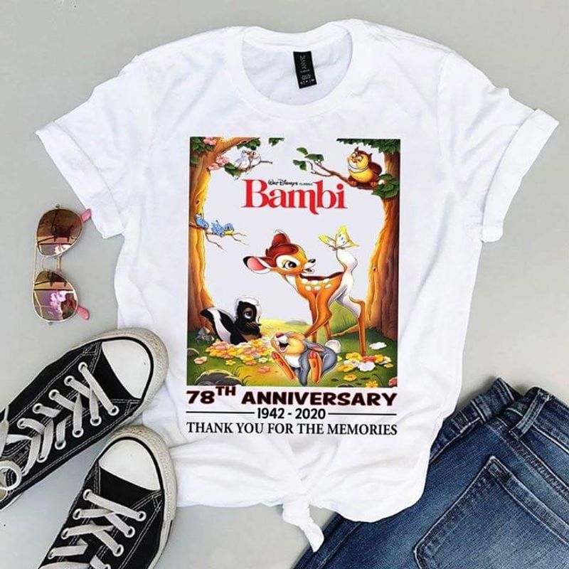 Bambi Fans 78th Anniversary 1942 2020 Thank You For The Memories White T Shirt Men And Women S-6XL Cotton