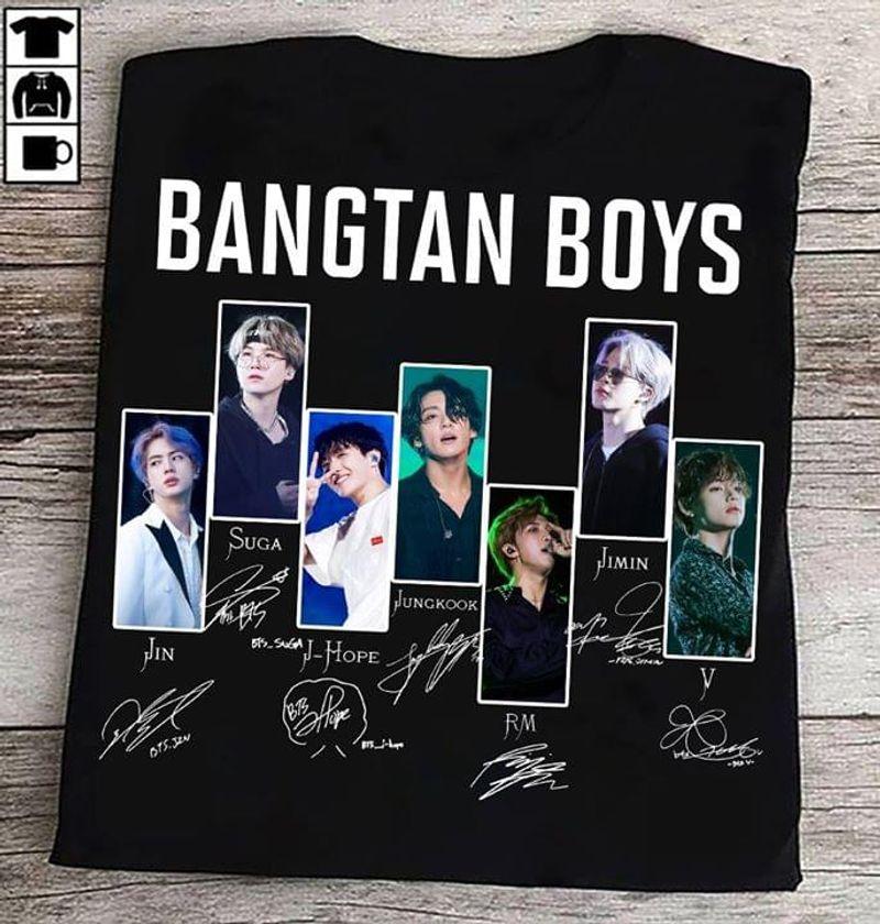 Bangtan Boys Members Signature Bts Lovers Classic Black T Shirt Men And Women S-6XL Cotton