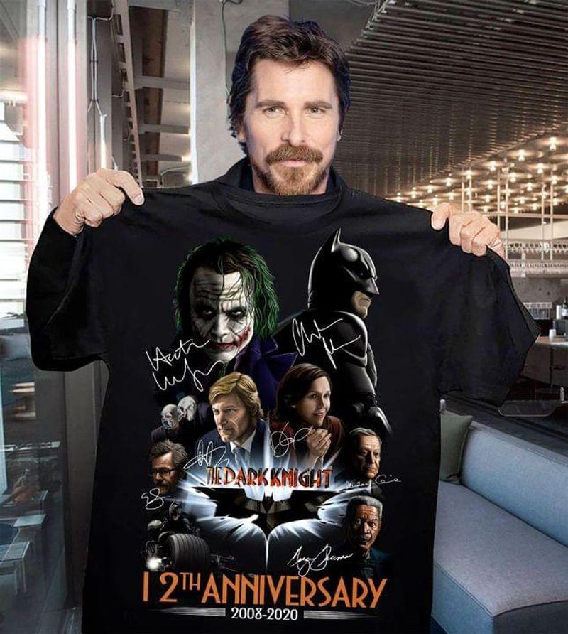 Batman And Joker Movie Character Signture Tee The Darknight 12th Anniversary Black T Shirt Men And Women S-6XL Cotton