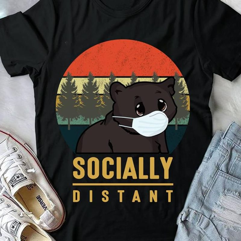 Bears Socially Distant Vintage Black T Shirt Men/ Woman S-6XL Cotton
