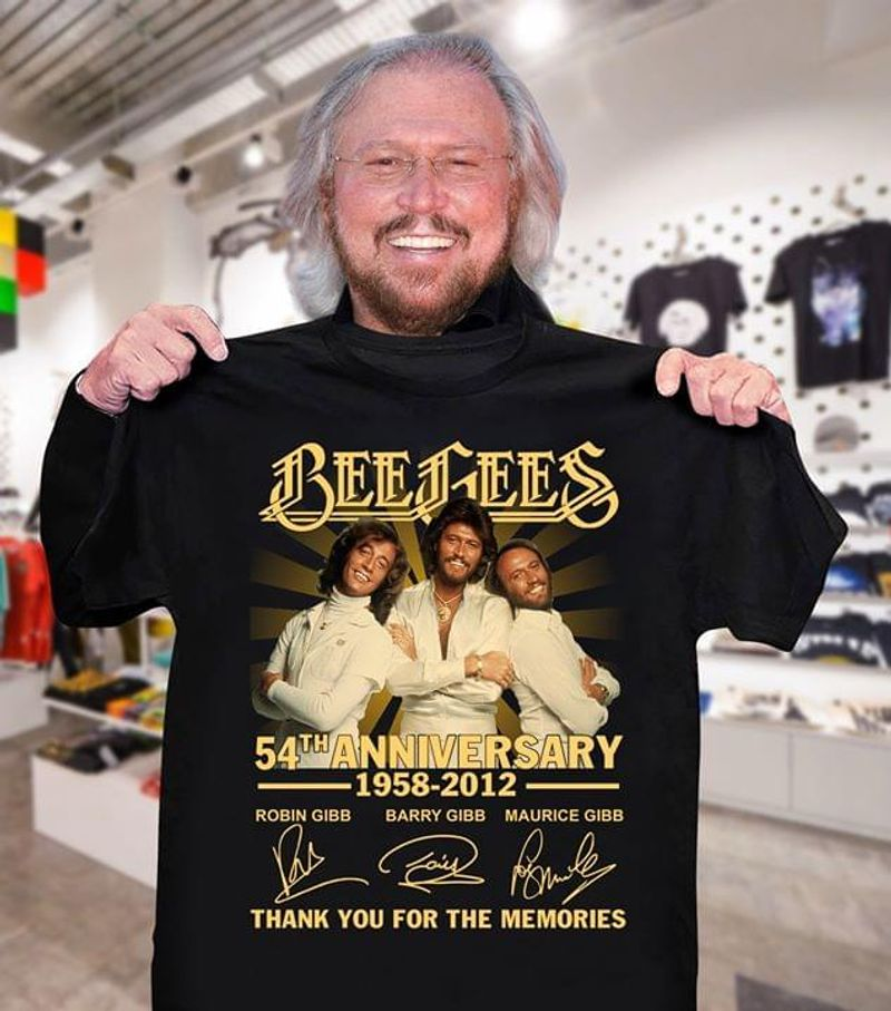 Bee Gees 54th Anniversary Thank You For The Memories T-Shirt Bee Gees Signed Black T Shirt Men And Women S-6XL Cotton