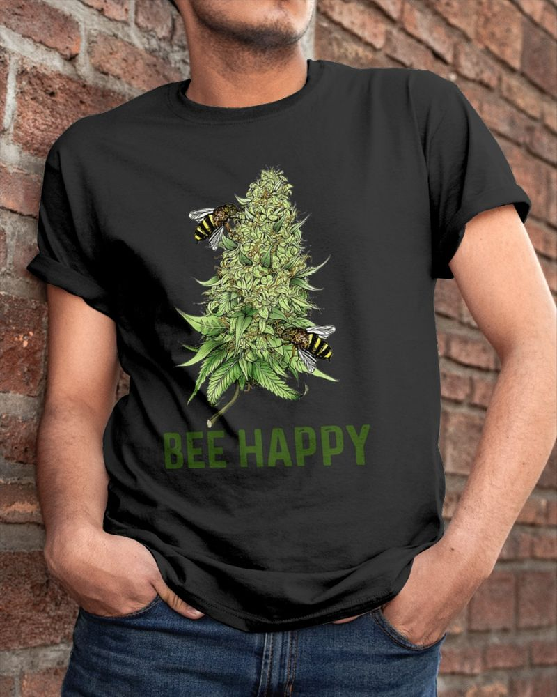 Bee Happy Bee And Cannabis T Shirt Black