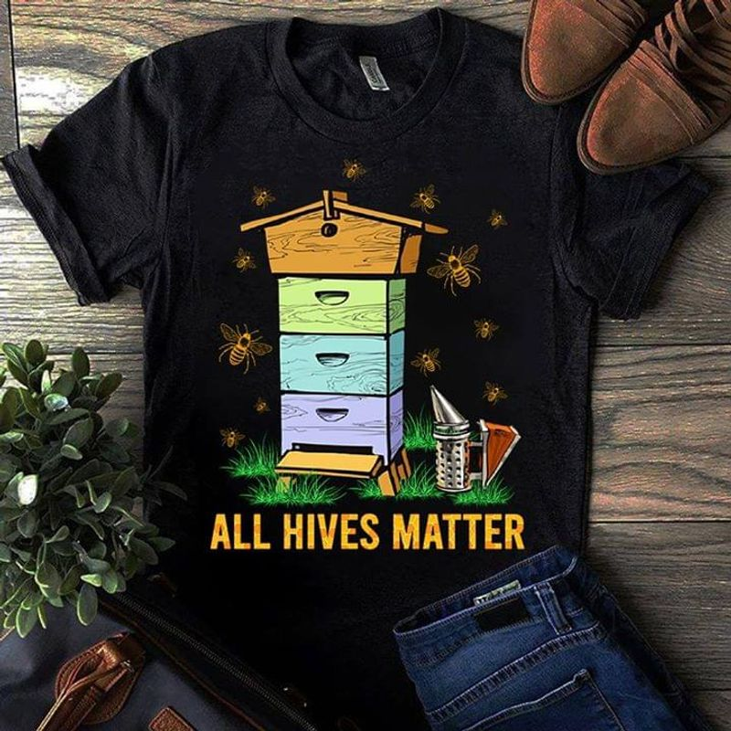 Bee House All Hives Matter Beekeeper Farmer Apiary Funny Black T Shirt Men And Women S-6XL Cotton