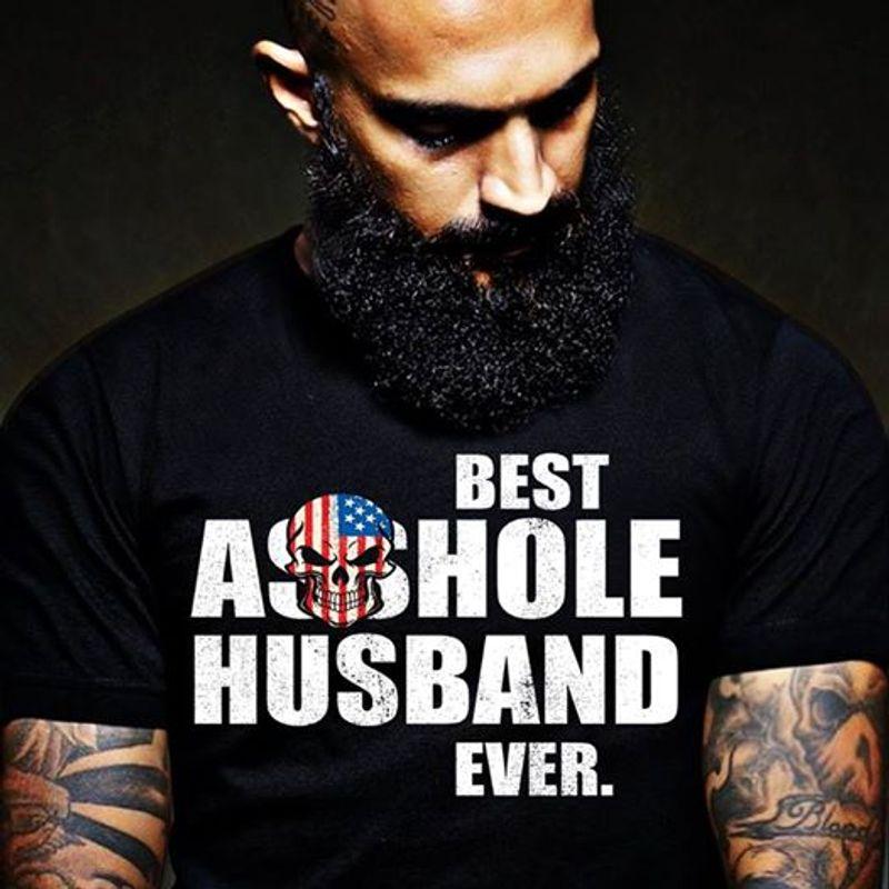 Best Asshole Husband Ever Skull In Usa Flag  T Shirt Black B5