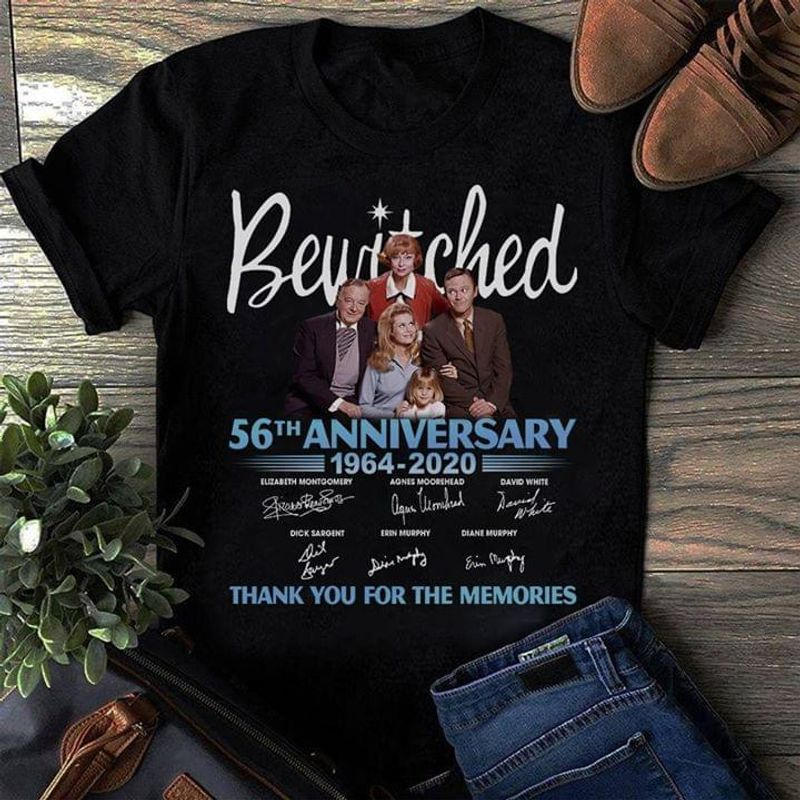 Bewitched Fans 56th Anniversary Thank You For The Memories Signature Black T Shirt Men And Women S-6xl Cotton