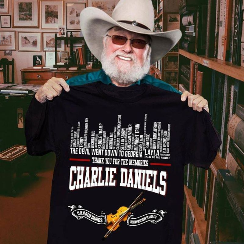 Big Dreams Charlie Daniels Singer The Devil Went Down To Georgia Layla Black T Shirt Men And Women S-6XL Cotton