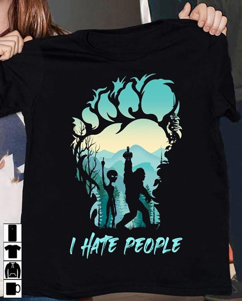 Bigfoot Alien I Hate People Sasquatch Giving Middle Finger Black T Shirt Men And Women S-6XL Cotton
