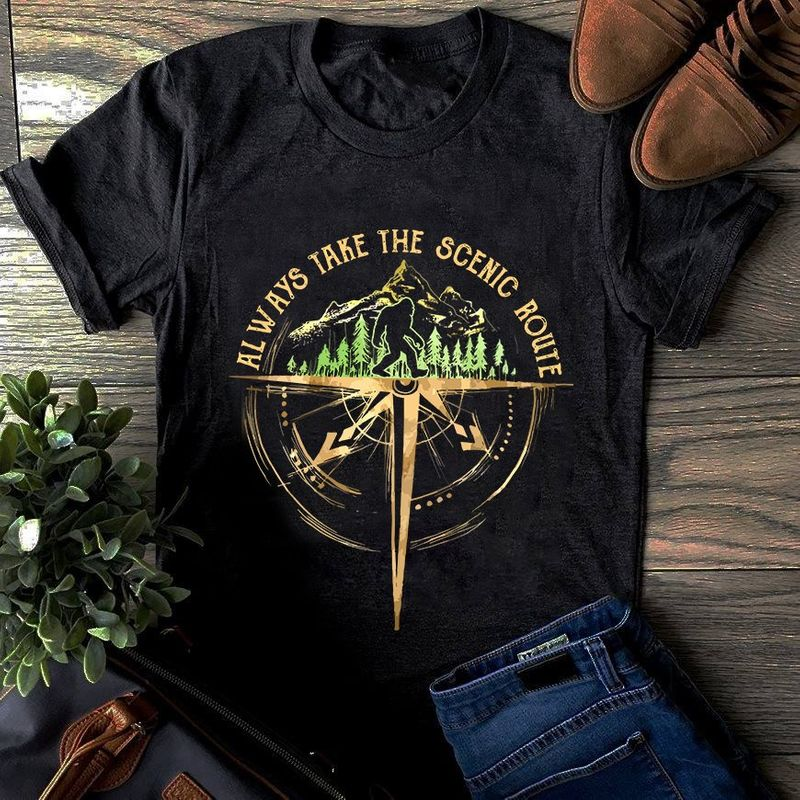 Bigfoot Compass Forest Always Take The Scenic Route T Shirt Black