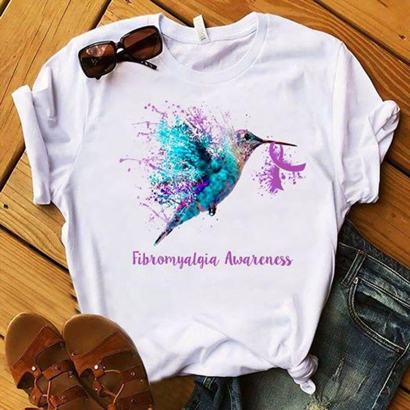 Bird Fibromyalgia Awareness   T Shirt White B1