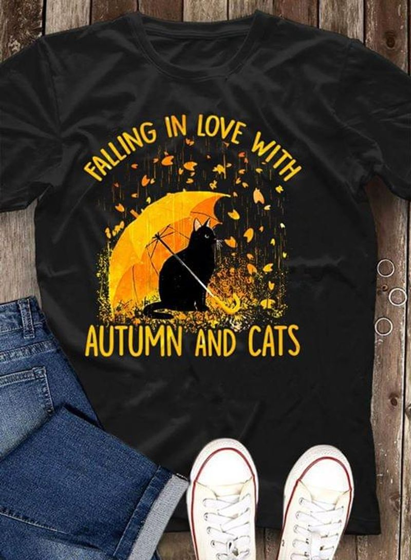 Black Cat Falling In Love With Autumn And Cats Raining Black T Shirt Men And Women S-6XL Cotton