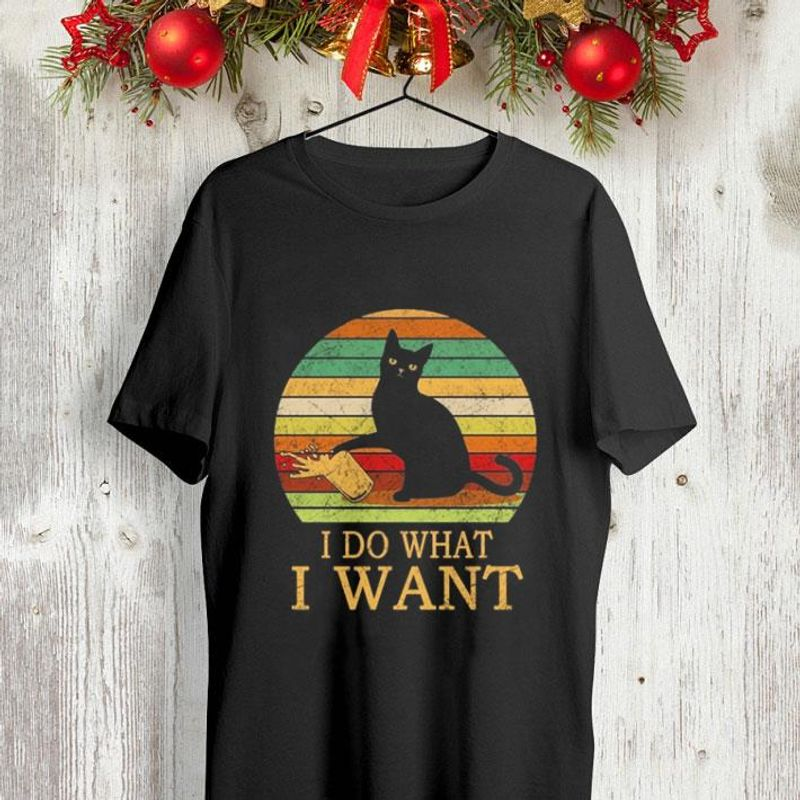 Black Cat I Do What I Want Vintage Shirt Black