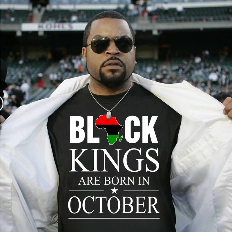 Black Kings Are Born In October T-shirt Black A5