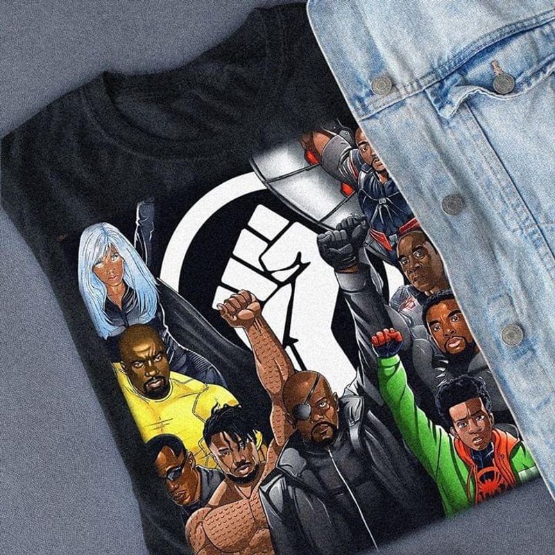 Black Lives Matter Black Super Heroes Clenched Fist Nick Fury Spider Man Black T Shirt Men And Women S-6XL Cotton