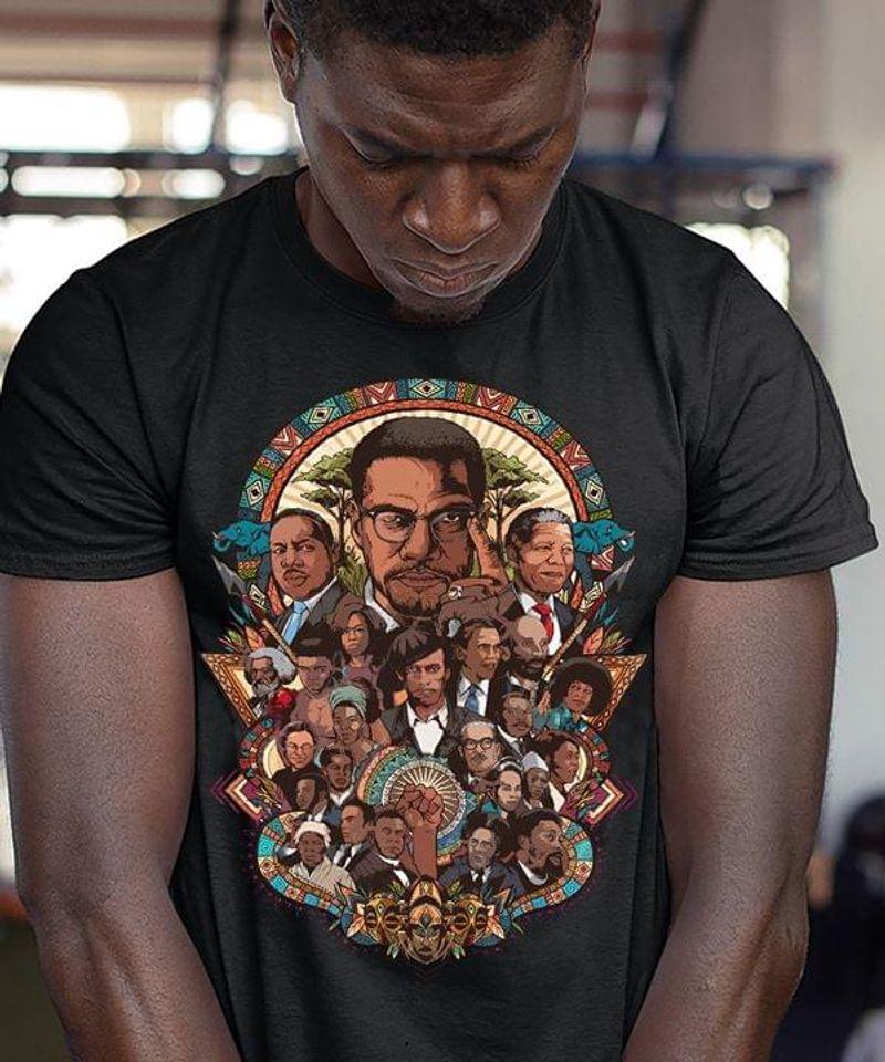 Black Pride Black Influential People Barack Obama Nelson Mandela Black T Shirt Men And Women S-6XL Cotton