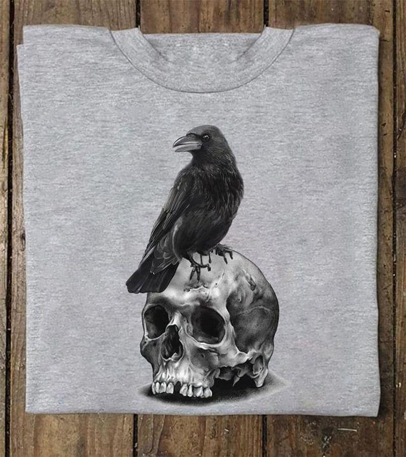 Black Raven And Skull Horror Art Sport Grey T Shirt Men/ Woman S-6XL Cotton