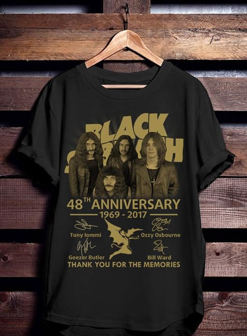 Black Sabbath Lovers 48th Anniversary Thank You For The Memories Signature Black T Shirt Men/ Woman S-6XL Cotton