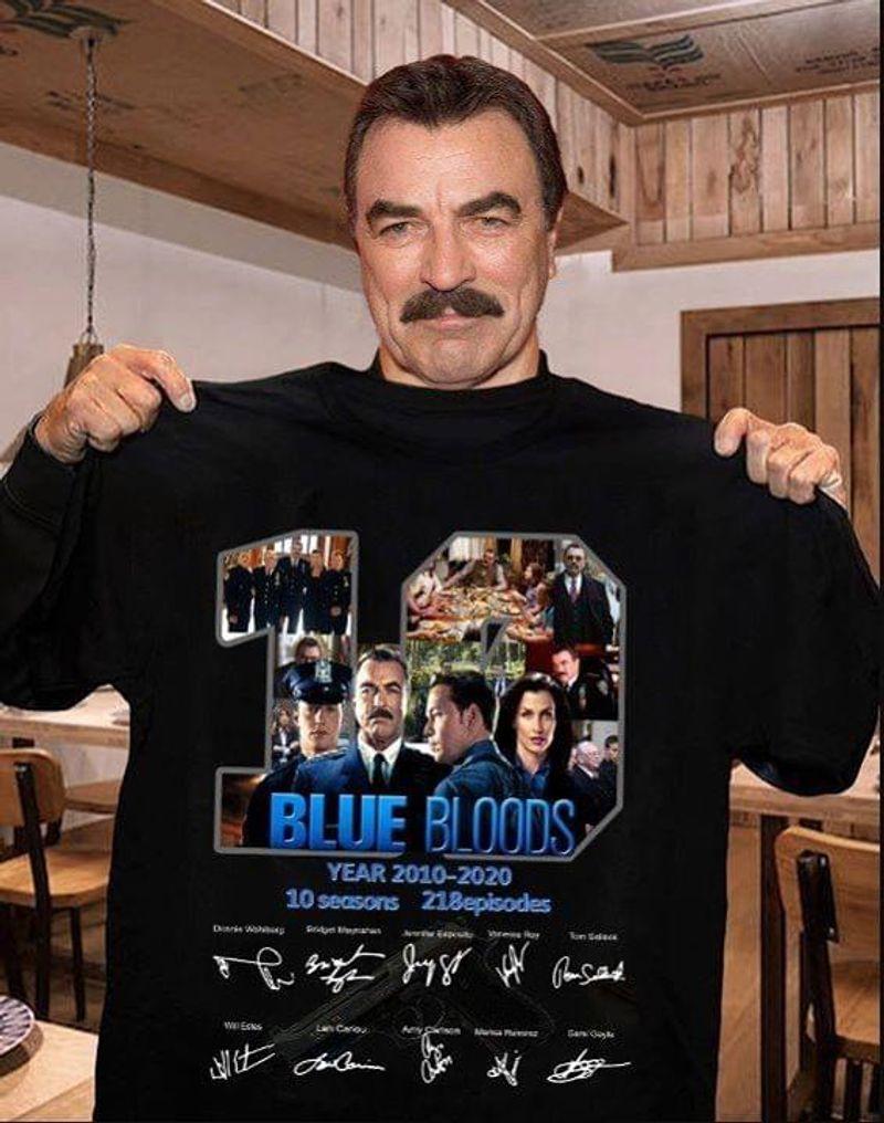 Blue Bloods Lovers 19 Years 2010 - 2020 Signature Black T Shirt Men/ Woman S-6XL Cotton