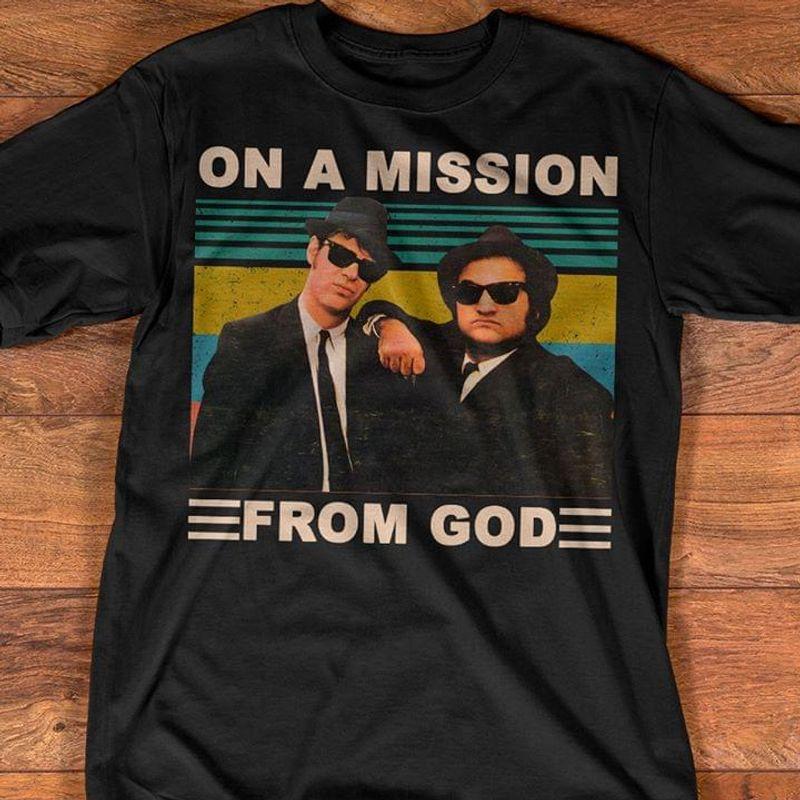 Blues Brothers Meme On A Mission From God Vintage Dan & Jim Dark Heather T Shirt Men/ Woman S-6XL Cotton