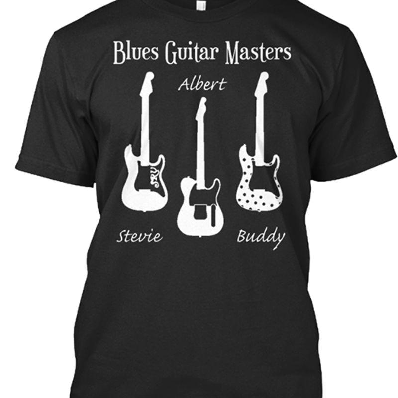 Blues Guitar Masters Albert Stevie Buddy Tshirt Black A2