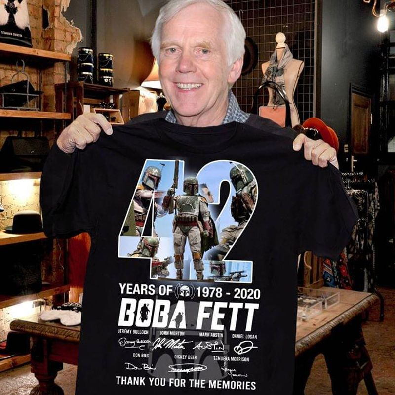 Boba Fett Fan 42 Years Thank You For The Memories Signature Black T Shirt Men And Women S-6XL Cotton