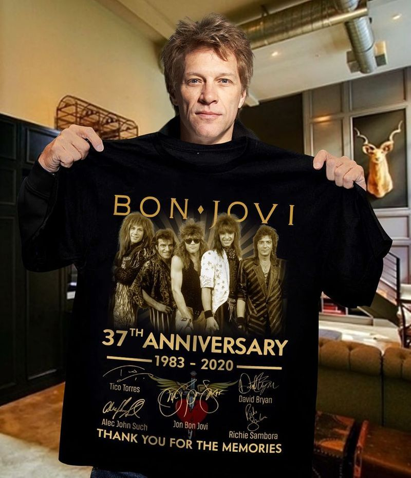 Bon Jovi 37th Anniversary 1983 2020 Thank You For The Memories Signatures T-shirt Black