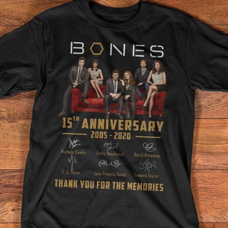 Bones 15th Anniversary Thank You For The Memories T-Shirt Bones Signatures Black T Shirt Men And Women S-6XL Cotton