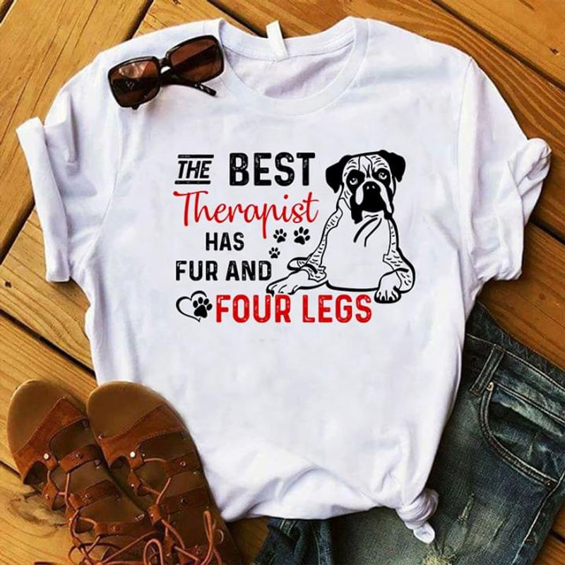 Boxer Dog The Best Therapist Has Fur And Four Legs Dog Paw Prints White T Shirt Men And Women S-6XL Cotton