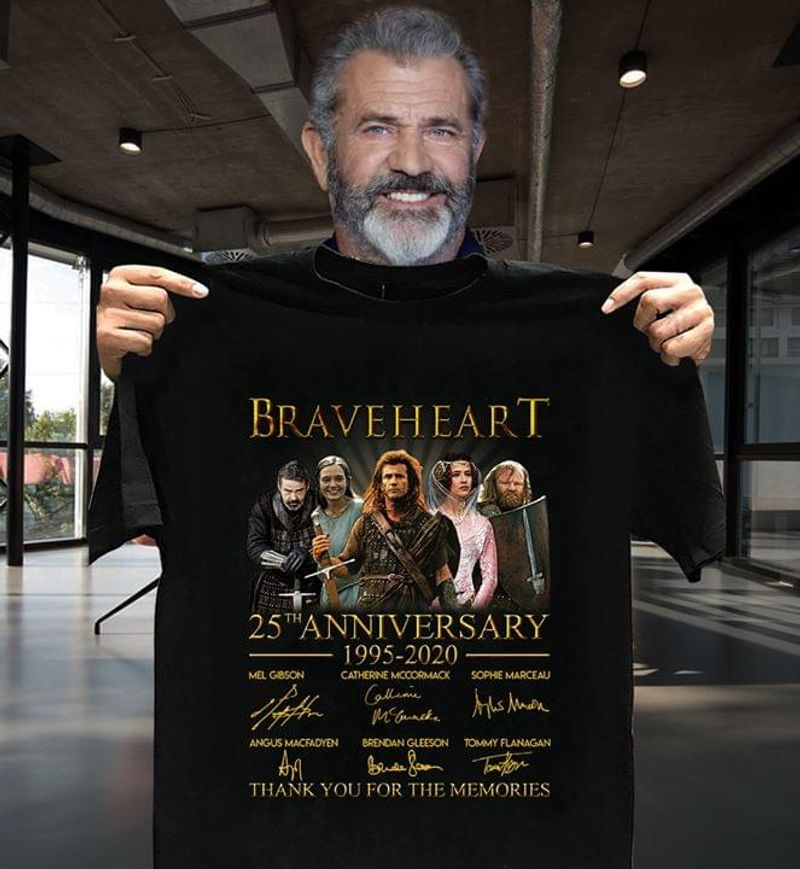 Braveheart 25th Anniversary Thank You For The Memories Signatures Black T Shirt Men/ Woman S-6XL Cotton