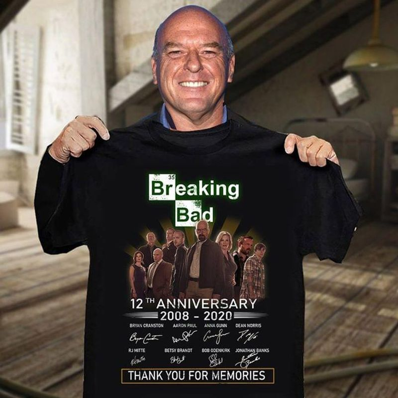 Breaking Bad 12th Anniversary 2008-2020 Thank You For The Memories Signature Black T Shirt Men And Women S-6XL Cotton