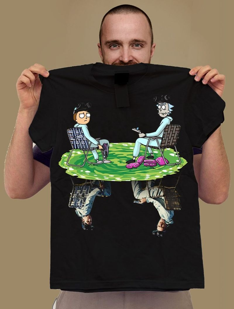 Breaking Bad Rick And Morty Water Reflection T-shirt Black A4