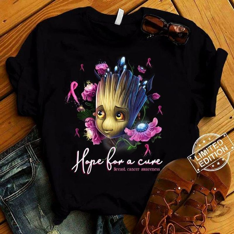 Breast Cancer Awareness Groot Hope For A Cute T-shirt Breast Cancer Support Black T Shirt Men And Women S-6XL Cotton