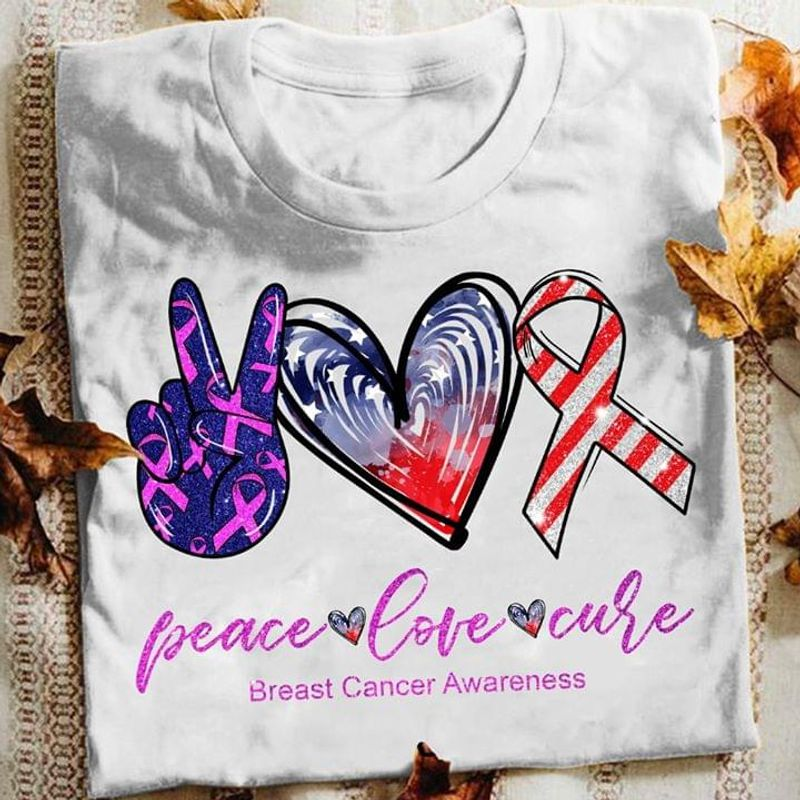Breast Cancer Awareness Peace Love Therapy American Flag Independence Day White T Shirt Men And Women S-6XL Cotton