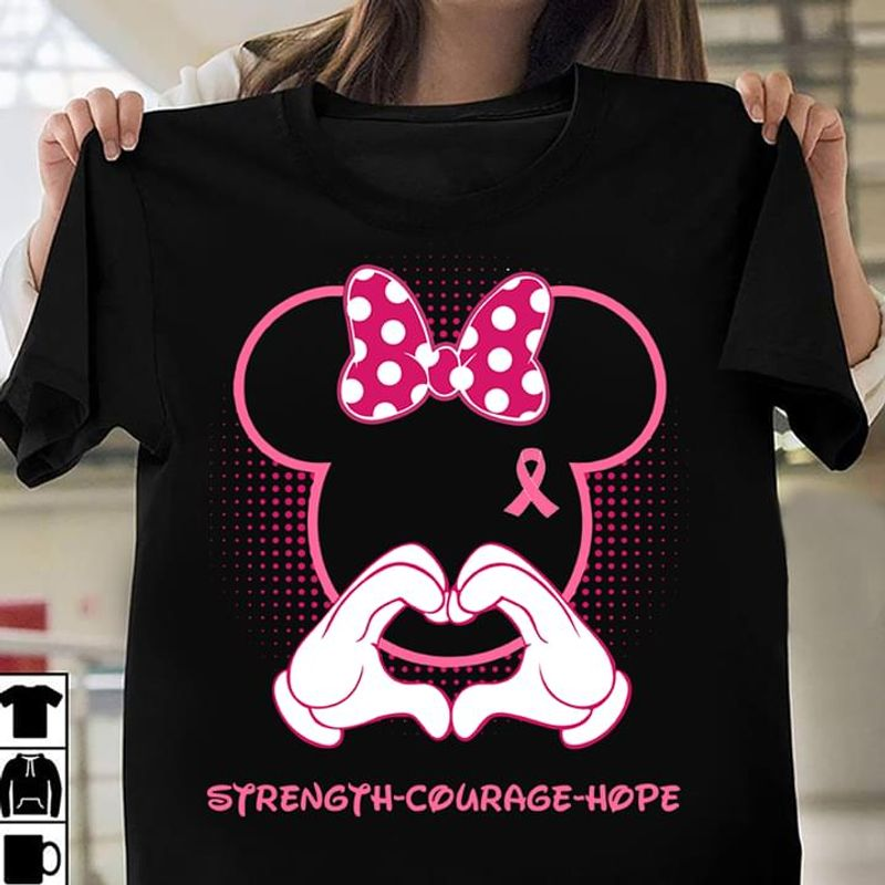 Breast Cancer Awareness Strength Courage Hope Minnie Mouse Black T Shirt Men And Women S-6XL Cotton