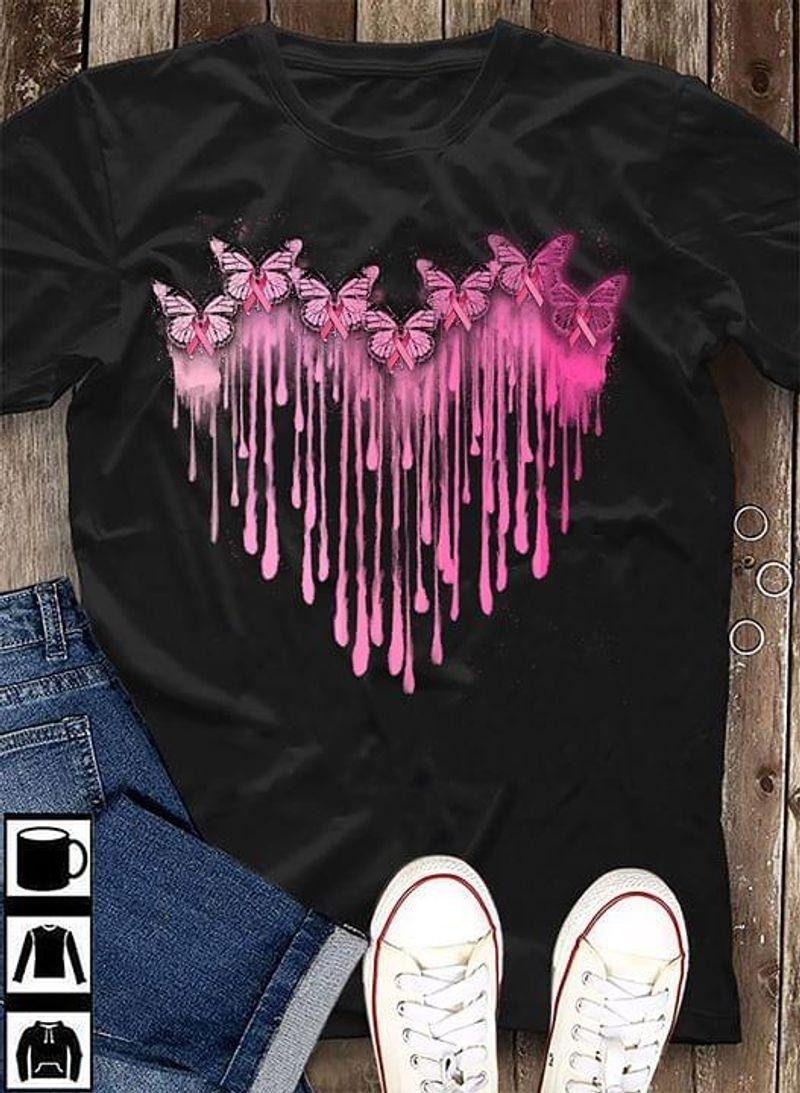 Breast Cancer Watercolor Heart Black T Shirt Men/ Woman S-6XL Cotton